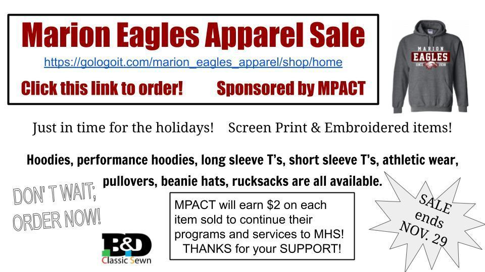 Get your Marion Eagle  Apparel; On Sale Now!