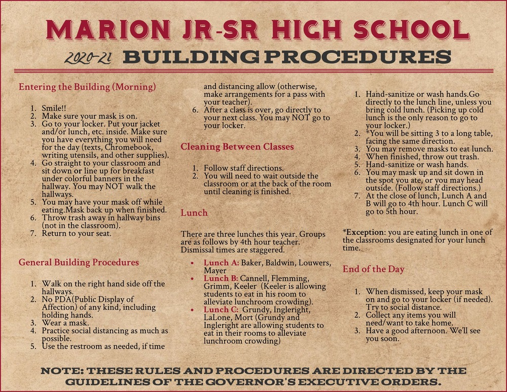 Marion Jr-Sr High School 2020-21 Building Procedures
