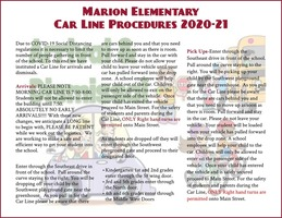 Marion Elementary Car Line Procedures 2020-21
