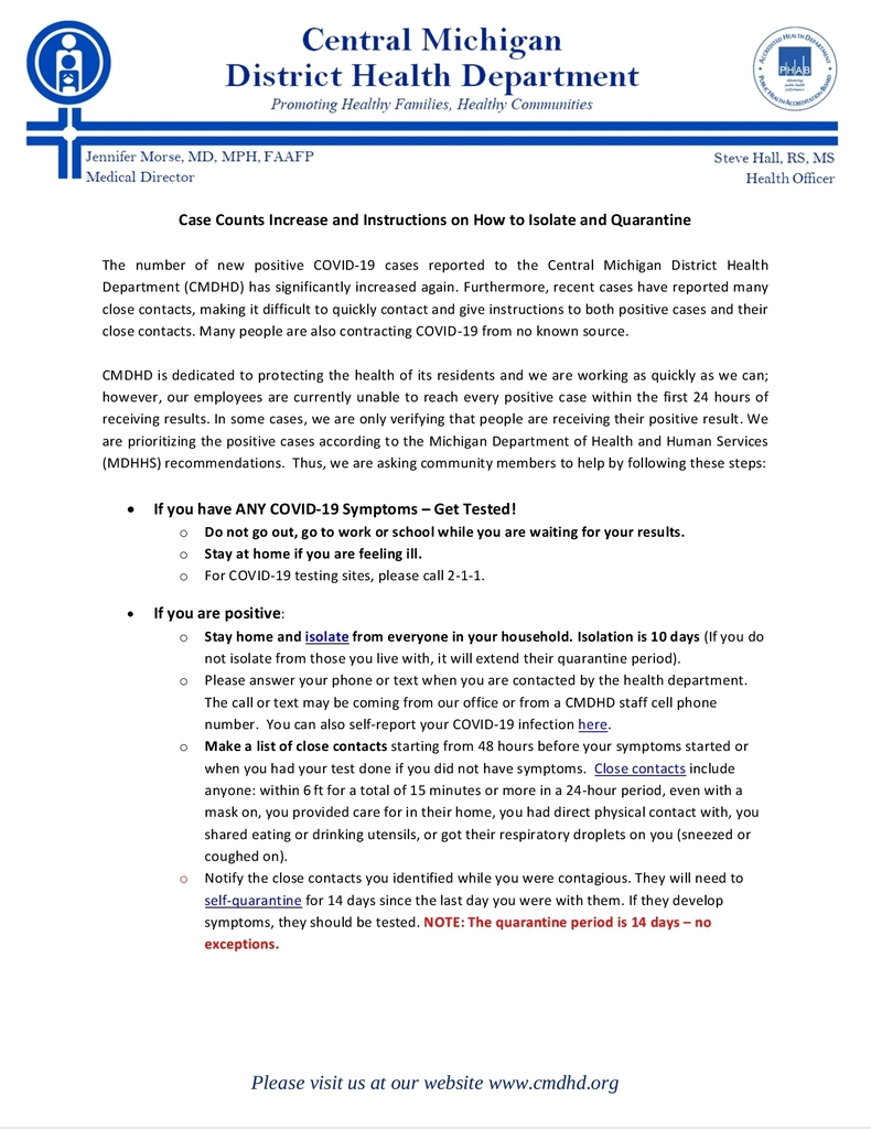 COVID-19 Updated Exposure Guidelines pg1