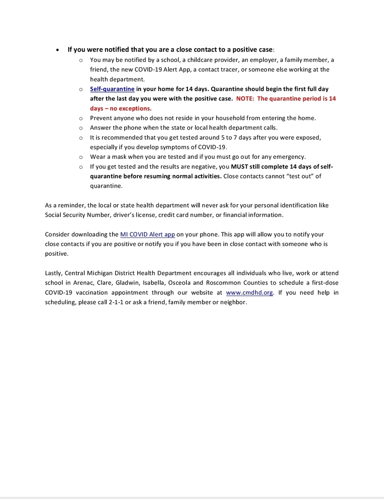 COVID-19 Updated Exposure Guidelines pg 2