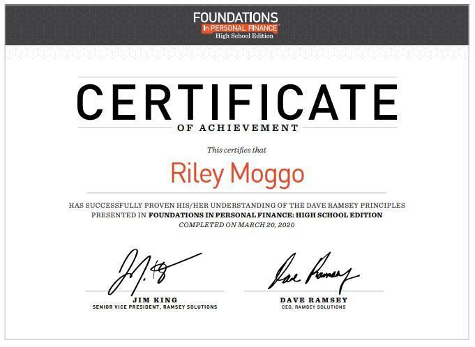 Riley's certificate