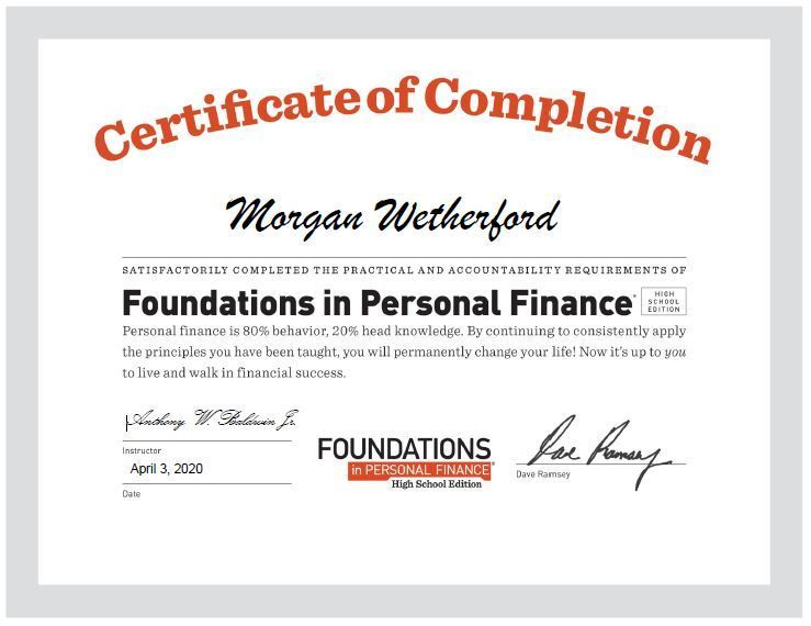Morgan Wetherford Personal Finance Certificate